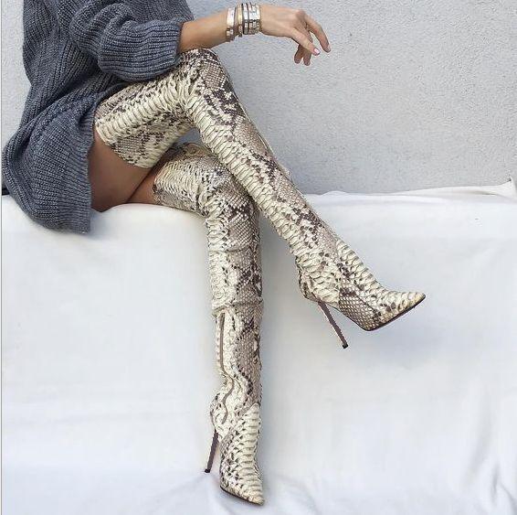 Zapatos de Cuero Piel de Serpiente Sobre la Rodilla Rodilla Rodilla botas Altas Para Mujer Hot Zapatos Taco aguja Zapatos bota de alto del muslo  ahorra hasta un 50%