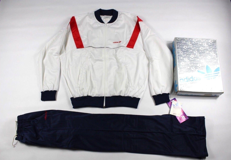 "Vintage ΝέΡς δΡκαΡτίΡς του 80 Adidas Mens XL Ξ""ΞΉΟŒΟΞΈΟ‰ΟƒΞ· Trefoil 2 κομμάτι Run DMC Track Suit Ξ—ΞΞ'"