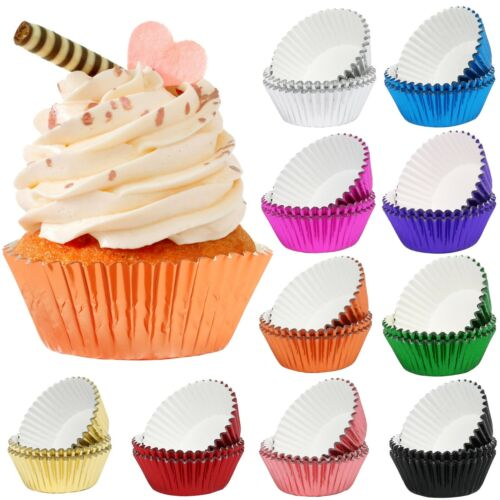 500Pcs Foil Cupcake Liner Muffin Liner Metallic Cupcake Wrapper Baking Cups