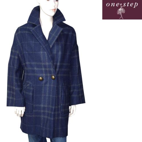 One Bleu Taille Carreaux Femme 46 Step Manteau Lainage qxYnrXRqv