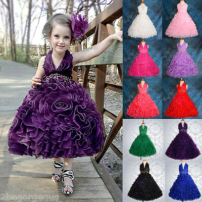 Wedding Flower Girl Bridesmaid Dresses Party Birthday Occasion Age 2-10 Yrs 148