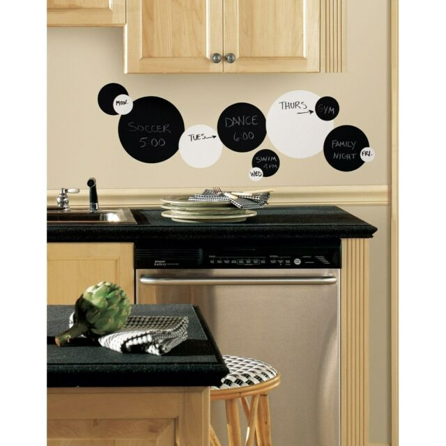Black Chalkboard & White Dry Erase Boards Polka Dots Wall Decals 31 Stickers NEW