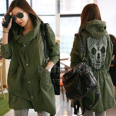 Women's Autumn Skull Back Retro Military Parka Button Trench Hooded Jacket Coat