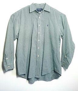 d629bc56bfd6 Ralph Lauren Golf Men's Green White Checked Long Sleeve Shirt Tilden ...