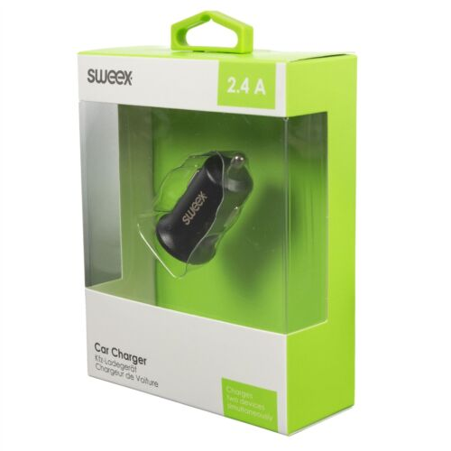 Sweex Car Charger 2-Outputs 2.4A 2x USB Black CH-011BL Smart Media Charger