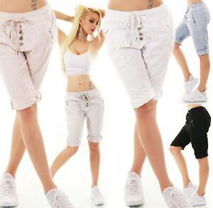 Italy-senora-shorts-Bermuda-baggy-pantalones-cortos-chino-elastico-de-adorno-abotonadura-36-40