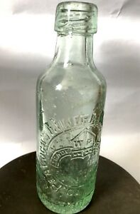 Vintage-SCARBOROUGH-Glass-Peacock-s-Mineral-Water-Bottle-North-Yorkshire-Salvage