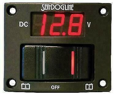 BOAT MARINE RV ELECTRICAL 2 BATTERY VOLTAGE TEST ROCKER SWITCH w//LED DISPLAY