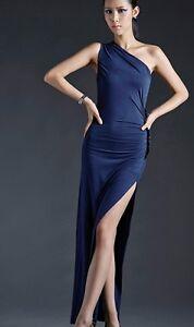 7a896c7ee645 Caricamento dell immagine in corso Elegante-Abito-vestito-lungo-colore-blu- con-spacco-