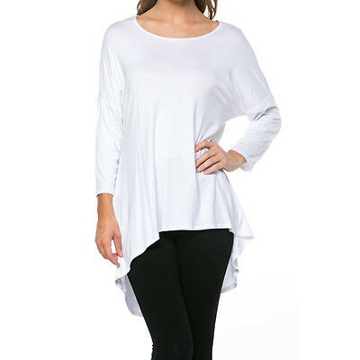 Women Scoop Neck Tunic Top 3/4 Sleeve High Low Hem Dress Long Loose T-Shirt USA