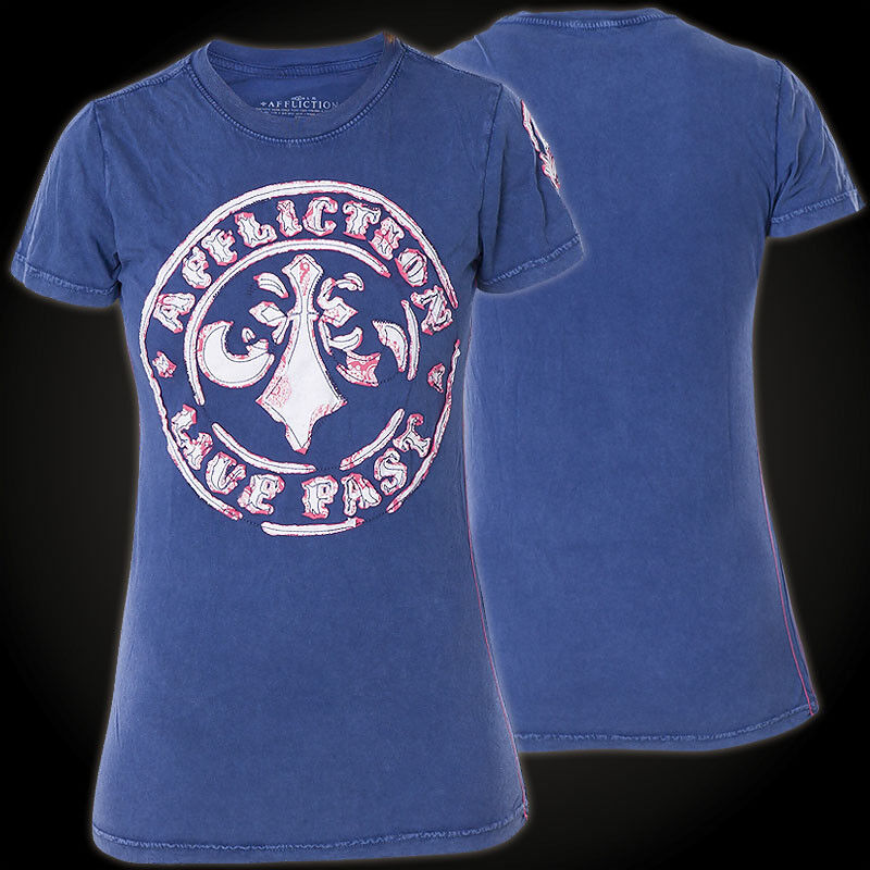 AFFLICTION T-Shirt Divio Bandana Blau T-Shirts Damen  affliction Divio