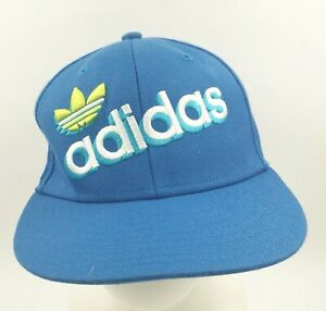 06bfb862a Details about Adidas Trefoil Logo Spell Out Snap Back Hat Cap Blue White  Neon Yellow