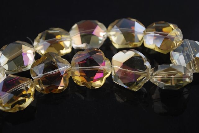 5pcs 20mm Big Flower Faceted Crystal Glass Charms Loose Beads Yellow Colorized