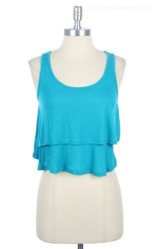 Double Layered Front Crop Tank Top Sleeveless Racerback Scoop Neck Rayon S M L