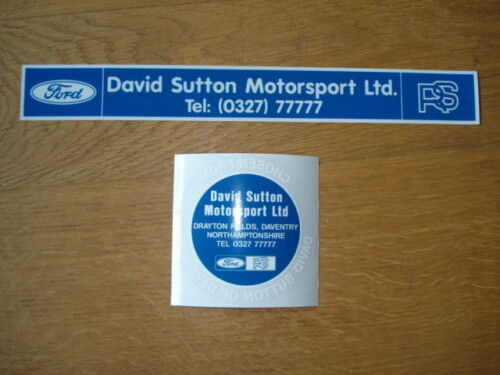 ESCORT RS /& COSWORTH DAVID SUTTON MOTORSPORT TAX DISC /& REAR DECAL PACK