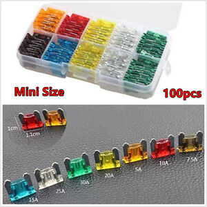 New 120pcs Assorted 5 7.5 10 15 20 25 30 Amp Car Small Size Low Profile Fuse Box
