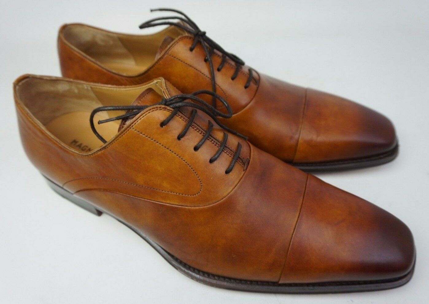 Magnanni Saffron Cap Toe Oxford shoes Cuero Brown Leather Mens Lace-Up Size 11.5