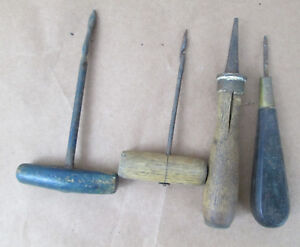 Lot-of-Vintage-Antique-Awls-Woodworking-Leather-Carpentry-Wooden-Handled-Tools