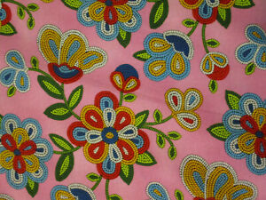 Navajo-Native-American-Beaded-Like-Floral-Colors-Pink-Cotton-Fabric-FQ