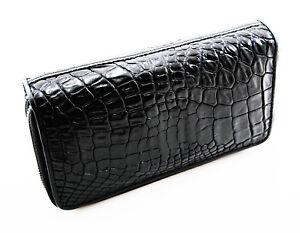 New-Black-Genuine-Leather-Crocodile-Women-Double-Zipper-Clutch-Wallet-Purse