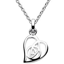 New Silver Rennie Mackintosh Rose Flower and Heart Pendant Necklace Jewellery