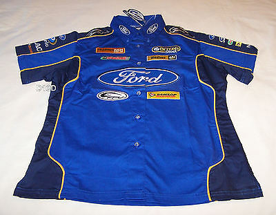 Ford Performance Racing FPR Ladies Blue Navy Raceteam Pit Crew Shirt Size 8 New