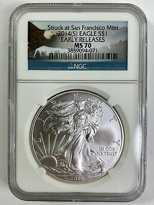 2014 2014 SILVER EAGLE $1 MS70 NGC EARLY RELEASES