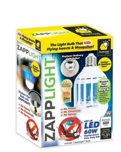 Genuine ZappLight 2n1 LED Light Bulb /& Bug Zapper Kills Insects /& Mosquitoes!
