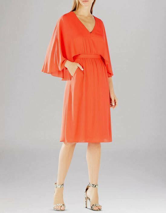 NEW BCBG MAX AZRIA BRITTNI CAPE KIMONO DRESS BRIGHT POPPY WQR68E40 Größe  XS