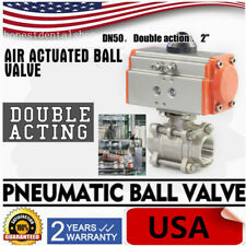 2 Inch Pneumatic Ball Valve Double Acting Air Actuated Ball Valve 1000 Psi Ptfe