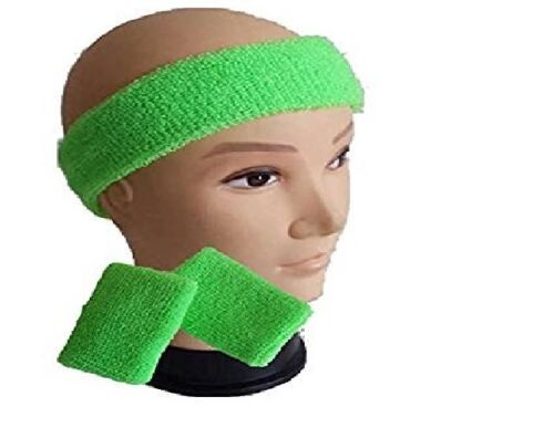 Childrens Kids Neon Headband Sweatband /& Wristbands 1980s 80s Fancy Dress