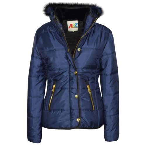 Girls Jacket Kids Navy Padded Puffer Bubble Fur Collar Quilted Warm Thick Coats