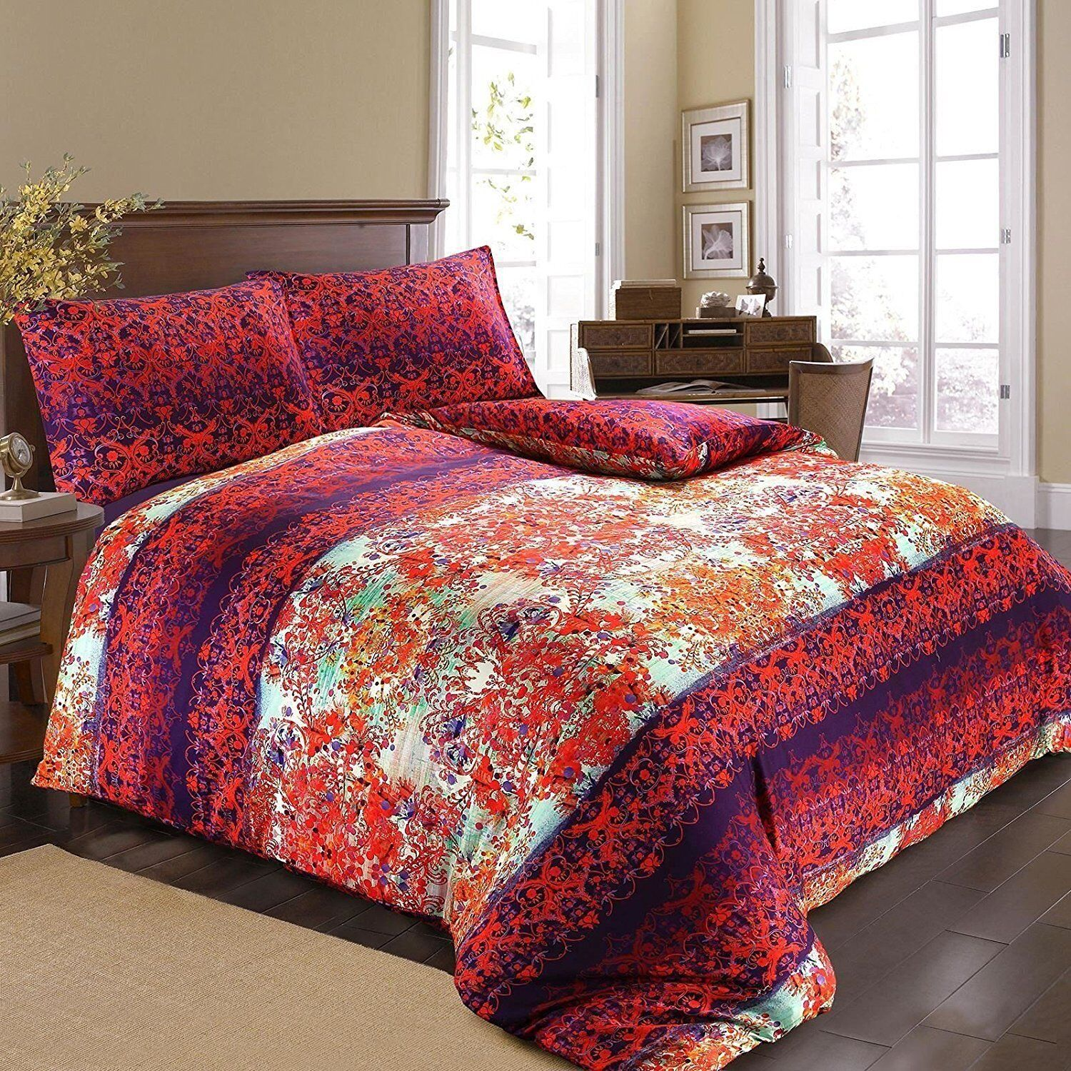 New 100% Egyptian Cotton Abstract Damask Floral Duvet Cover Bed Set Double Size