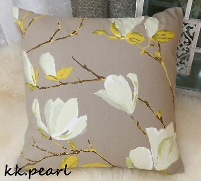 "John Lewis SAYURI Magnolia Fabric /& Floral  Cushion Cover 16/"" Reversible"