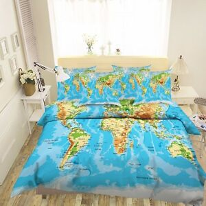 3d world map 6 bed pillowcases quilt duvet cover set single queen image is loading 3d world map 6 bed pillowcases quilt duvet gumiabroncs Images