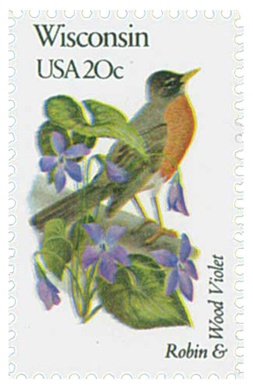1982 20c State Birds & Flowers, Wisconsin Robin & Wood