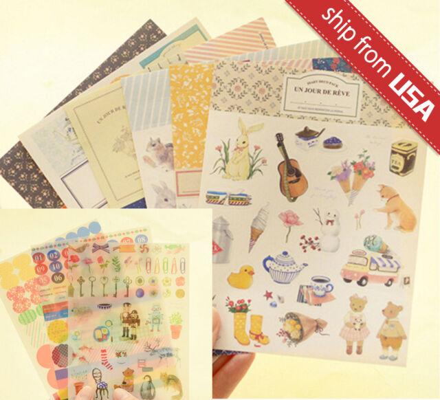 9 sheet Korean Diary Deco Stickers Cute Animal Vintage Style Scrapbooking Kawaii