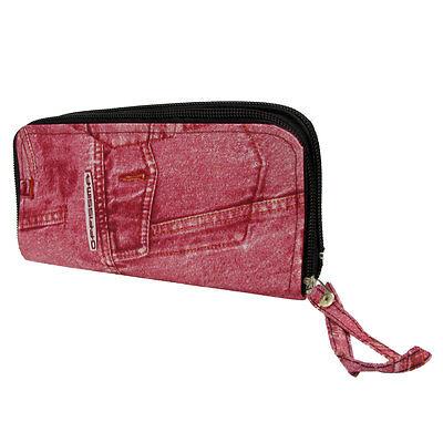 Purse Wallet Offissima Ecopelle Denim Look Fashion Patterned Chic Pochette Rosa-mostra Il Titolo Originale