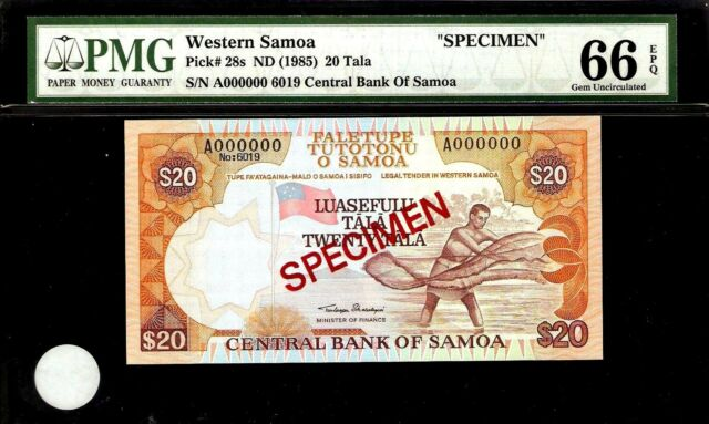 Western Samoa 20 Tala 1985 SPECIMEN PMG 66 EPQ UNC Pick # 28s  S/N A000000