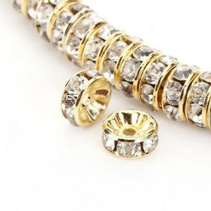 10mm 100PCS Gold Spacer Beads For Swarovski Rhinestones Rondelle Crystal AAA+++