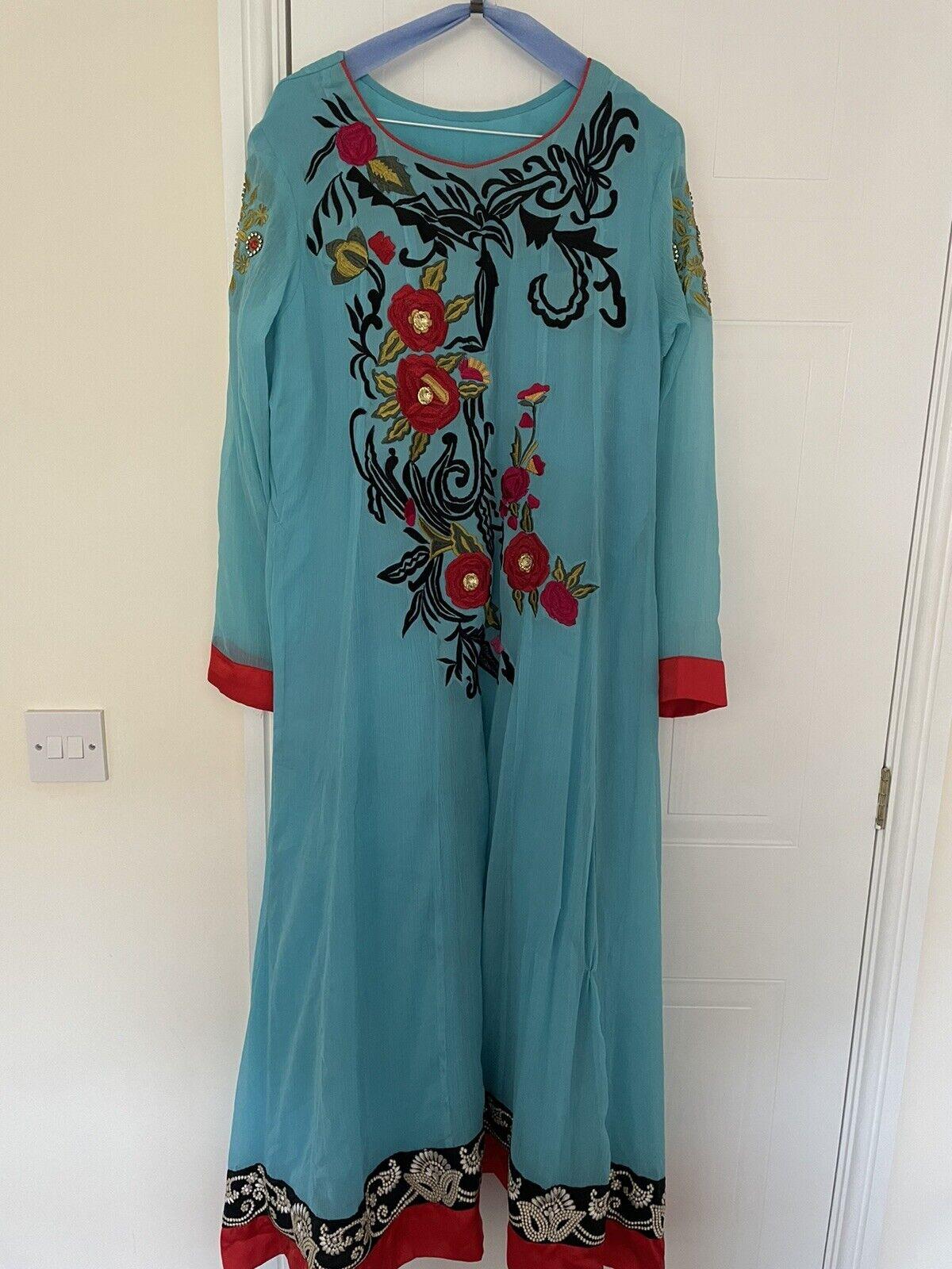 Ladies Pakistani Blue Chiffon Maxi Kameez Suit Fancy Party Wear