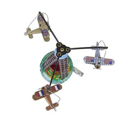Wind Up Spinning Planes Airplane Aeroplane Carousel Clockwork Collectors Tin Toy