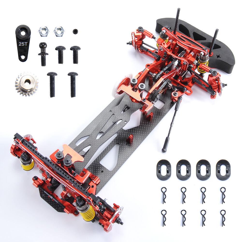 1 10 G4 RC coche de carreras Kit de marco de fibra de carbono coche de aleación 078055R 4WD HSP HPI deriva