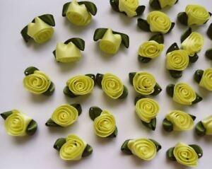 "7//8/"" Jaune Swirl ruban de satin fleurs roses avec feuilles-Lots 30-R0048Y"