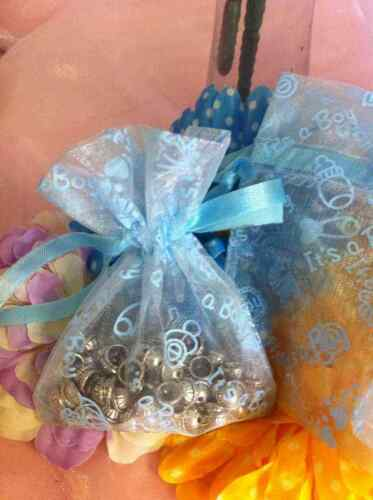 """Lot of 60 Light Blue Baby Boy Shower Organza Drawstring Favor Bags 3/""""x4/"""" OR-S"""