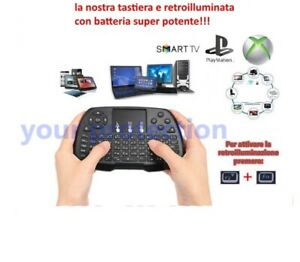 Tastiera wireless Touchpad Mouse per Android TV BOX Smart TV PC Notebook DVR