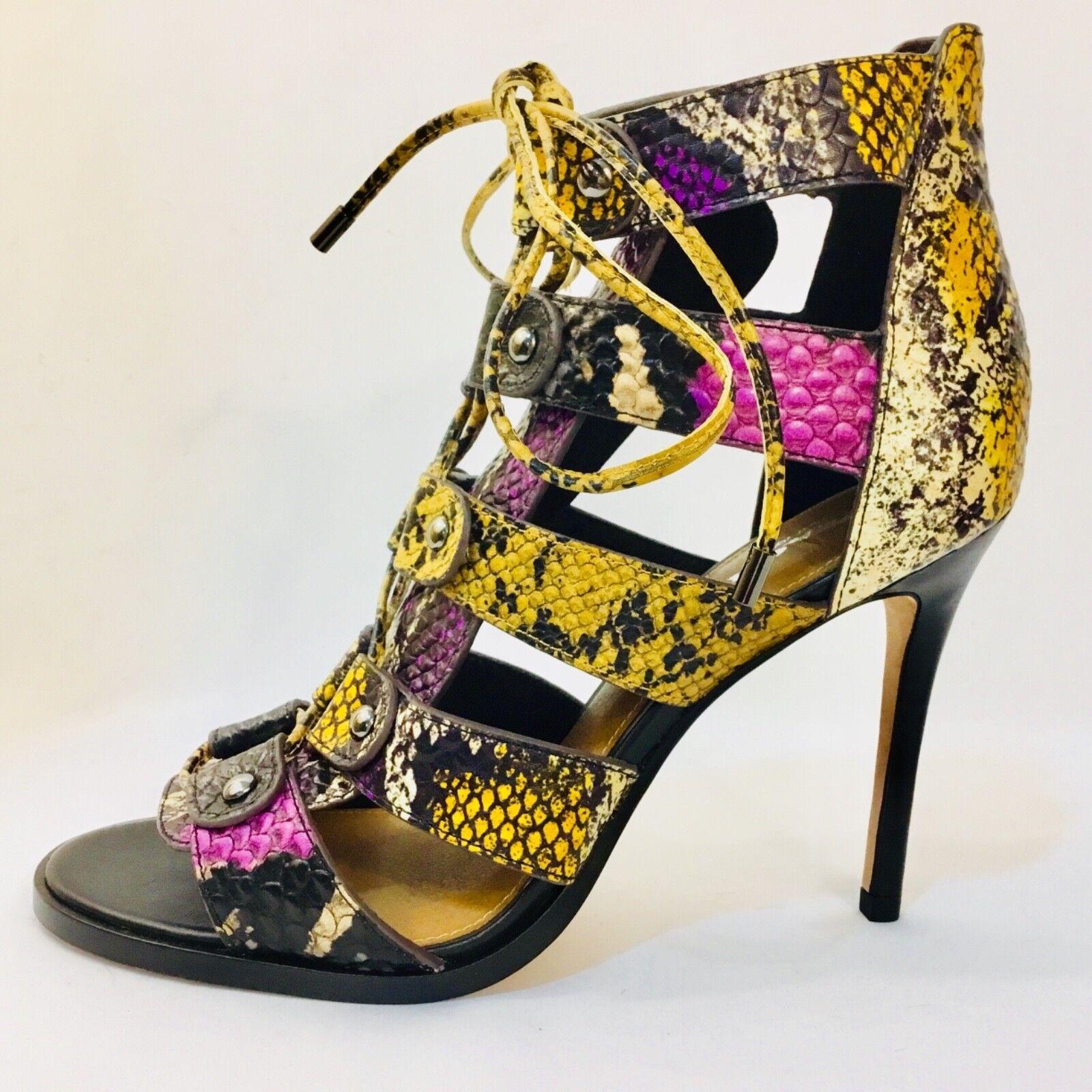 COACH sandals, Leslie, strappy reptile, black/gold/pur<wbr/>ple, size 8 MSRP