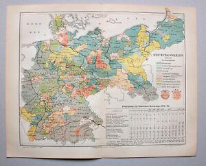 Deutsches Reich, Politik - Reichstagswahlen 1893-98 - Lithographie 1898