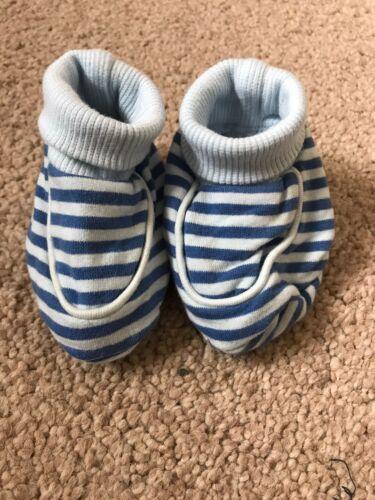 BNWOT M/&S Booties Blue Stripe Boys Age 0-3 Months