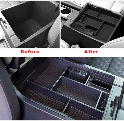 Center Console Insert Organizer Tray ABS Armrest Storage Box Full Tray Black JAUTO for 2014-2019 Toyota Tundra